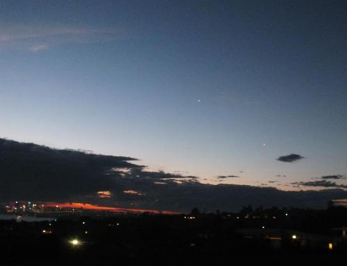 Venus and plane in evening sky