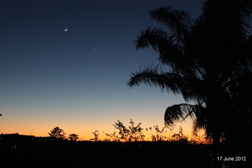 Crescent Moon with Jupiter and Venus